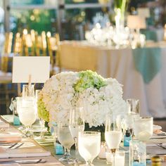 Green and White Hydrangea Centerpiece | Wedding Flowers