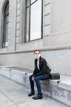 Feeling like rockstar royalty in my leather jacket and 'too cool for you' shades - Inspired by The Royals on E!