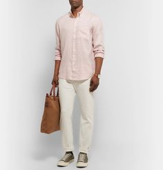 Club Monaco Slim-fit Button-down Collar Slub Linen Shirt In Pink Dark Jeans, Converse Sneakers, Button Down Collar, Club Monaco, Khaki Pants, Normcore, Slim, Mens Fashion, Clothes