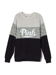 Collegiate Crew in Marl Grey/Black by Victoria's Secret PINK - love this, looks so comfy for winter! These look big so probably XS