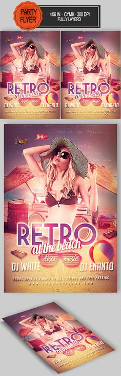 Summer Retro Flyer - Clubs & Parties Events,#Summer Beach Night #Flyer - Flyers Print #Templates Download here: https://graphicriver.net/item/summer-retro-flyer/16759042?ref=suz_562geid
