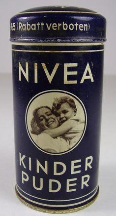 Antike Seltene NIVEA Kinder Puder Blech Dose befüllt vor 1945