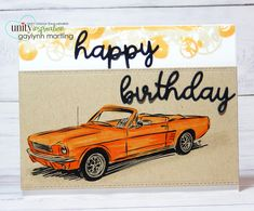 Ford Mustang classic car ~ masculine birthday card & video tutorial.