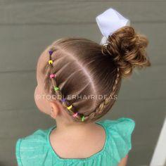 "Toddler Hair Ideas (@toddlerhairideas) on Instagram: ""Elastics on the side (on a slight diagonal), a braid, and a high side messy bun!"""