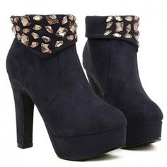 $34.48 Elegant Rhinestones and Solid Color Design Short Boots For Women