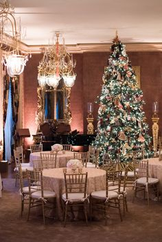 My father-in-law Gordon's music room converted for the party. And my mother-in-law Ann's famous Christmas tree, made up of handmade ornaments she designed from their favorite operas.