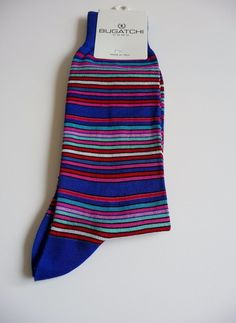 Bugatchi Uomo NWT Men's Royal Multi-Colorful Striped Socks One Sz Neiman Marcus #BugatchiUomo #Casual