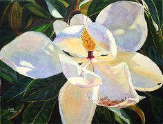 Magnolia Watercolor Painting Print by Cathy Hillegas, 11x14, watercolor floral, white, cream, blue, yellow, purple, orange, emerald