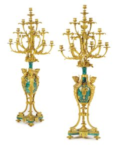 A PAIR OF LARGE LOUIS XVI STYLE GILT BRONZE AND MALACHITE THIRTEEN-LIGHT CANDELABRAS<br>France, late 19th century | lot | Sotheby's