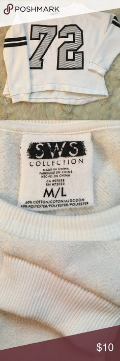 73 Number sweatshirt Cute white sweatshirt with 72 on front, two stripes on arms. Good used condition.  Size M/L but fits like an XL SWS Tops Sweatshirts & Hoodies