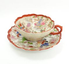 Antique eggshell porcelain teacup and saucer with Japanese scenery by indiecreativ, $35.00