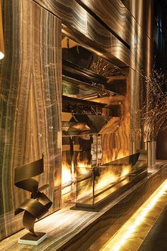 gold fireplace_This mirror-backed and marble lined masterpiece at the Paramount Hotel in New York. Interior Exterior, Luxury Interior, Interior Architecture, Interior Design, Design Interiors, Commercial Design, Commercial Interiors, Paramount Hotel, Hotel Interiors