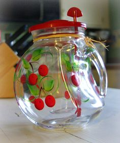 Modello Glass Pitcher with Hand Painted Cherries and  Ice Chamber. $17.50, via Etsy.