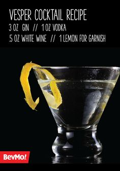 Vodka, gin, a splash of white wine, and a hint of lemon pair oh-so deliciously in this Vesper Cocktail recipe. Smooth as can be, this clear mixed drink is best served at your party with a citrus twist! Vodka Recipes, Cocktail Recipes, Drink Recipes, Classic Cocktails, Mixed Drinks, Bartender, White Wine, Finland, Gin
