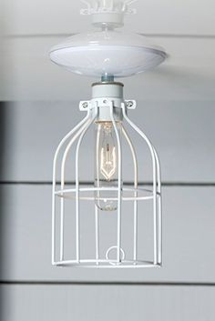 White Cage Light - Ceiling Mount Industrial Lighting - White