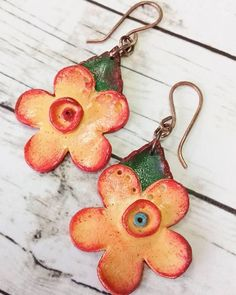 Polymer clay earrings. Total earring length is 6.5 cm / 2.55 inches. Lightweight and easy to wear. FREE SHIPPING anywhere.