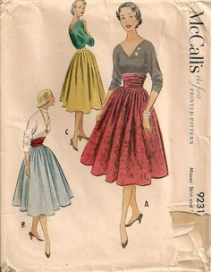 Vintage 1950's Skirt Pattern McCall's 9231 by SewPatterns on Etsy, $8.00
