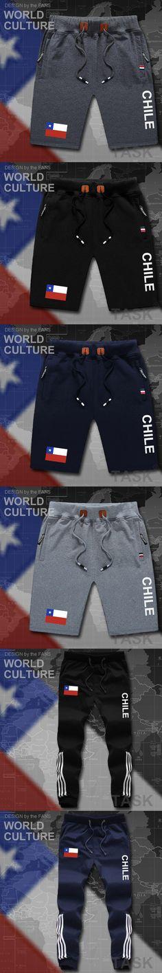 Chile mens shorts beach new men's board shorts flag workout zipper pocket sweat bodybuilding 2017 cotton brand  flag Chilean CL