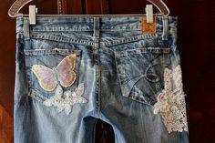 Böhmische Rokoko Jeans antike Spitze verschönert von IzzyRoo