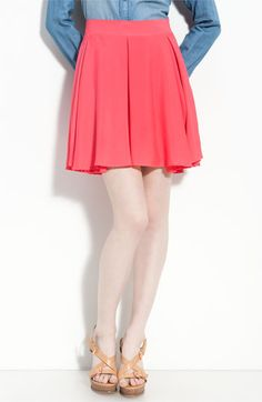 Watermelon-colored box pleated skirt. #nordstrom $68.00