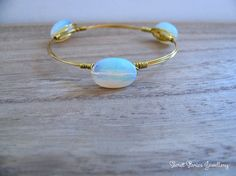 Moonstone Bangle gold plated bracelets bangle with white stone semi precious gems wire wrapped by SecretStories