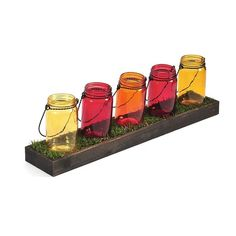 Pfaltzgraff Mason Jar & Faux Grass Tealight Candle Holder ($51) ❤ liked on Polyvore featuring home, home decor, candles & candleholders, multicolor, pfaltzgraff, rustic home decor and colorful home decor