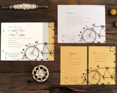 Tandem Bicycle Wedding Invitations Bike Invite by ruffhouseart Summer Wedding Invitations, Affordable Wedding Invitations, Wedding Invitation Sets, Wedding Stationary, Diy Invitations, Wedding Favours, Invitation Design, Bicycle Wedding, Tandem Bicycle
