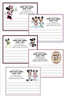 Personalized Disney Mickey and Minnie Bridal Shower Advice Cards. $0.65, via Etsy.