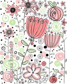 Rosa Blumen illustrierte Wand-Kunstdruck