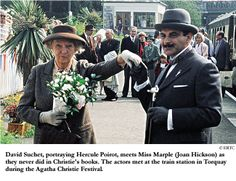 """For the Agatha Christie Festival in Torquay, a meeting was arranged between Miss Marple and Hercule Poirot, one which never appeared in the books, alas. """"Why would they [meet]?"""" she considered in her memoir. """"Hercule Poirot, the complete egoist, would not like being taught his business by an elderly spinster lady."""""""