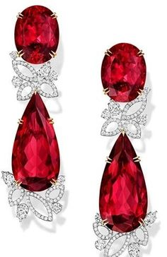Harry Winston red ruby and diamond earrings