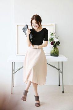 Band Long Flare Skirt | Korean Fashion