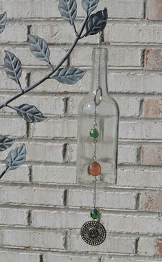 Wine Bottle Wind Chimes Clear Glass Bottle Wind by TipsyDesigns