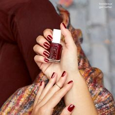 Fall brings out all the warm nail polish colors. Match your oxblood outfit to an essie 'bordeaux' manicure and show off your love of reds. <link to bordeaux>