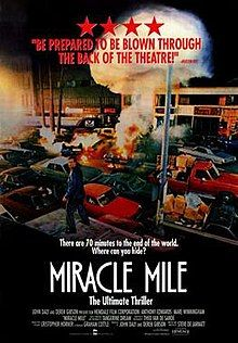 'Miracle Mile' from With Denise Crosby, Anthony Edwards, Mykelti Williamson & Mare Winningham. Anthony Edwards, Scary Movies, Great Movies, World Miracles, Miles Movie, David Moody, Post Apocalyptic Movies, Disaster Movie, Movies Worth Watching