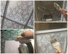 add frosted lace to window using cornstarch