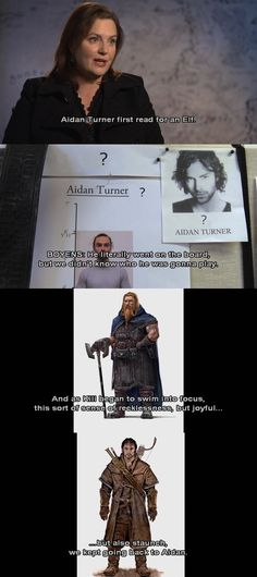 Aidan originally tried for an Elf role. <- And every fangirl is eternally grateful that he ended up as Kili.