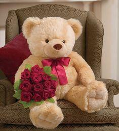 Big Bear & Dozen Red Roses Delivery At Maya Flowers, India Teddy Bear Images, Big Teddy Bear, Teddy Bear Pictures, Big Bear, Giant Teddy, Tatty Teddy, Valentines Day Teddy Bear, Happy Valentines Day, Stuffed Animals