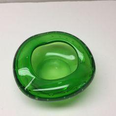 Venetian Murano Art Glass Ashtray Bullicante Green Vintage Translucent Dish 21 #Murano