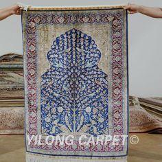 Yilong 2.7'x4' Tabriz silk carpet tree of life vantage handmade exquisite turkish silk rug (0498)