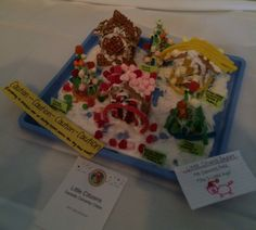 PreK gingerbread creations: 3 Little Pigs' houses and some trees