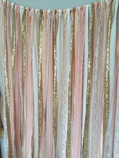 Peach Pink & Gold Sparkle Sequin Fabric Backdrop with Lace Wedding Garland Photo Prop Curtain Baby Shower Crib Garland Fabric Backdrop, Diy Backdrop, Ribbon Backdrop, Bridal Shower Backdrop, Fabric Garland, Lace Garland, Ceremony Backdrop, Curtain Fabric, Diy Party Photo Backdrop