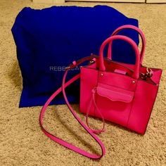 Rebecca Minkoff M.A.B tote mini Hot pink gently used M.A.B tote mini with adjustable straps with 1 zipper pocket and a credit card pocket and animal print in the inside still in stores!! Price is negotiable! Dust bag included! Rebecca Minkoff Bags Mini Bags