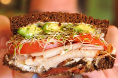 Baggin's Unforgettable.  Most popular sandwich....  turkey, bacon, avocado, sprouts, mayo, cream cheese on our 12 grain bread