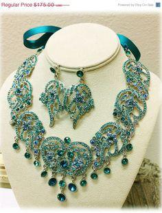 Bridal jewelry Bridal bib necklace earrings by GlamDuchess
