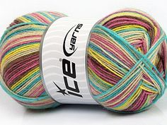 Design Sock Yellow Turquoise Pink Maroon Beige  Fiber Content 75% Superwash Wool, 25% Polyamide, Yellow, Turquoise, Pink, Maroon, Brand Ice Yarns, Beige, Yarn Thickness 1 SuperFine  Sock, Fingering, Baby, fnt2-55552 Ice Yarns, Yellow Turquoise, Finger, Socks, Wool, Batik, Content, Design, Tricot