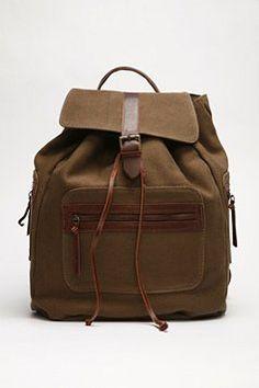 Rustic looking backpack.