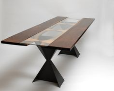 Live Edge Dining Room Table, Claro Walnut, Quilted Maple, Powder Coated Legs, Glass Top, For Sale Contact 541-556-8280