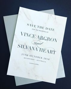 Save the Date invitation printed with marble background