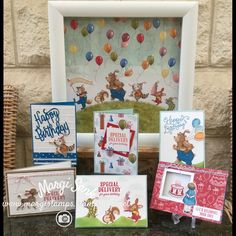 The collage of Stampin Up Birthday Delivery Bundle. The signature sheet of DSP makes a lovely home decor item.  There is so much versatility in this Bundle....what fabulous projects can you imagine?